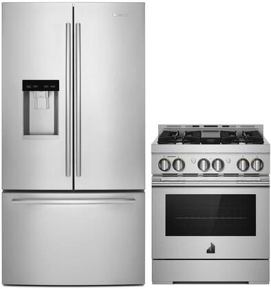 2 Piece Wi-Fi Connected Kitchen Appliances Package with JFFCC72EFS 36″ French Door Refrigerator and JGRP430HL 30″ Gas Range in Stainless
