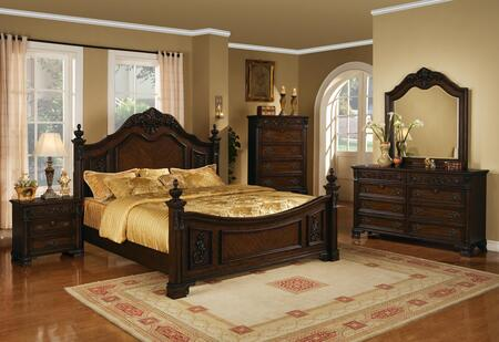 Kensington Collection KE18QNMDR 5-Piece Bedroom Set with Queen Bed  Nightstand  Chest  Mirror and Dresser in Distressed