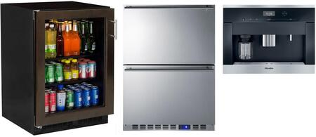 3 Piece Kitchen Appliances Package with ML24BCF2LP 24″ Beverage Center  CVA6401 24″ Coffee System and SCFF532D 24″ Counter Depth Freezer in Stainless