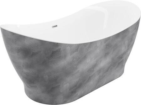 BT-8010-SL Tundra Silver 66″ Freestanding Tub No Faucet Silver Finish  in