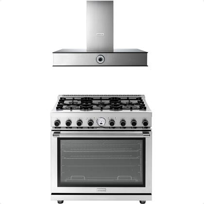 """2-Piece Kitchen Appliances Package with RN361SPSS 36"""" Freestanding Dual Fuel Range and HN361ANS 36"""" Wall Mount Hood in Stainless"""