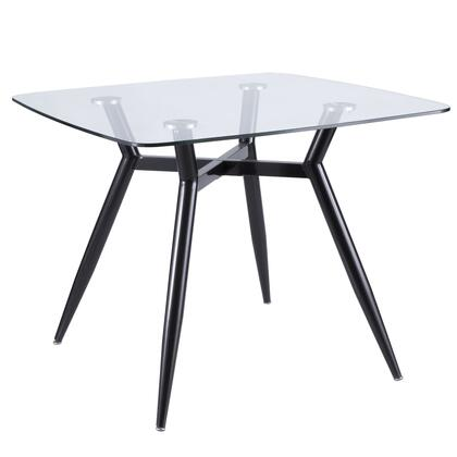 Clara Collection DT-CLR3838BKGL Dining Table with Geometric Metal Legs  Mid-Century Modern Style and Tempered Glass Top in Clear and Black