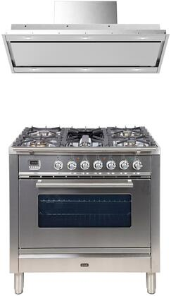 2 Piece Kitchen Appliances Package with UPW90FDMPI 36″ Dual Fuel Gas Range and VERTICE36 36″ Ceiling Mount Convertible Hood in Stainless