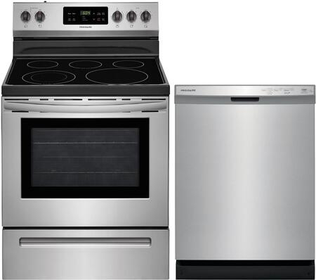 """2 Piece Kitchen Appliances Package with FFEF3054TS 30"""" Electric Range and FFCD2418US 24"""" Built In Dishwasher in Stainless"""