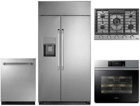 Dacor 4 Piece Wi Fi Connected Kitchen Appliances Package With Dyf42sbiws 42 Inch Side By Side Refrigerator Dob30m977ss 30 Inch Electric Single Wall Steam Oven Dtg30p875ns 30 Inch Smart Natural Gas Cooktop And