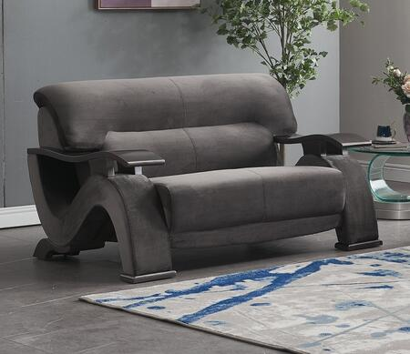 U2033-GREY-L 59″ Contemporary Velvet Loveseat with S-Shaped Side Panels  Plywood Frame and Split Back Cushion in