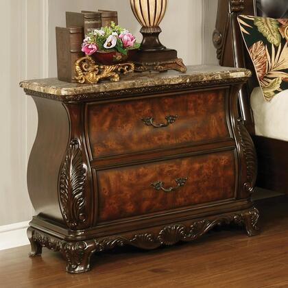 Exeter Collection 222752 32.75″ Nightstand with Marble Top with Dual USB Ports  Felt Lined Top Drawers and Carved Crown Design Apron in Dark Burl