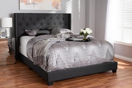 Baxton Studio Brady BRADYCHARCOALGREYKING Bed Gray, 8941 8942 8943 6