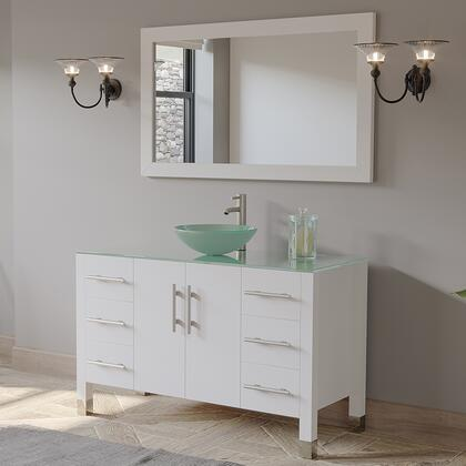 8116B-W-BN 48″ Solid Wood Glass Vessel Sink Set with a Brushed Nickel