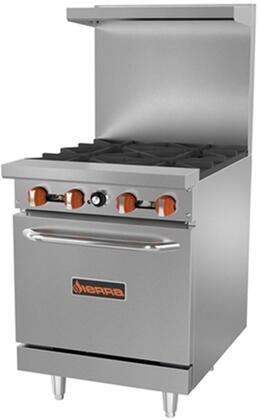 Sierra  SR424 Commercial Range Stainless Steel, SR424 4-Burner Range with Oven
