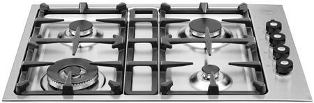 Bertazzoni Professional Q30400X Gas Cooktop Stainless Steel, Q30400X  30 Drop-in low edge cooktop 4-burner