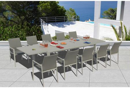 Fine Line Ritz Collection GR03411SGB2049G 11 Piece Outdoor Dining Set with Extendable Savoy Table  Grey Frosted Glass Top  All-Weather Mesh Fabric