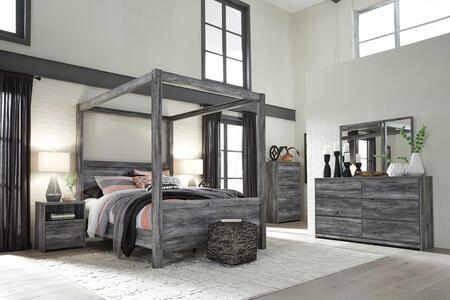 Signature Design By Ashley Baystorm Collection B221kscbdmnc 5 Piece Bedroom Set With King Size Canopy Bed Dresser Mirror Nightstand And Chest In Smokey Grey Appliances Connection
