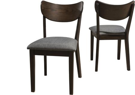 San Marino Collection 4702-802 Side Dining Chair with Wood Back  Gray Upholstering and Set of 2 in Chestnut