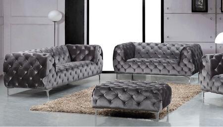 Meridian Mercer 646GRYSL Living Room Set Gray, 2 PC Set