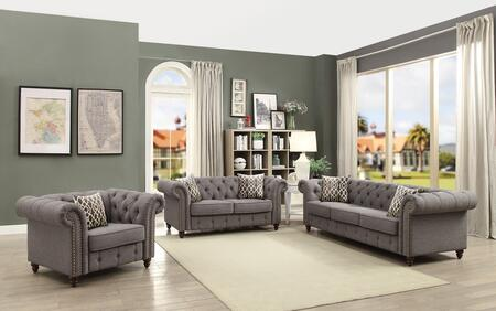 Acme Furniture Aurelia 52425SLC Living Room Set Gray, Sofa, Loveseat and Chair