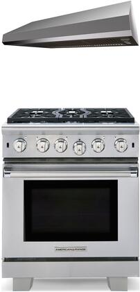 """2 Piece Kitchen Appliances Package with ARR530N 30"""" Gas Freestanding Range and MAES3010SS600B 30"""" Under Cabinet Convertible Hood in Stainless"""