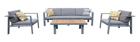 SETODNOGR Armen Living Nofi 4 piece Outdoor Patio Set in Gray Finish with Gray Cushions and Teak