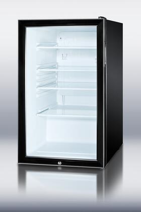 "SCR500BL 20"" 4.1 cu. ft. Capacity Glass Door Refrigerator With Automatic Defrost Factory Installed Lock Reversible Door Interior Light Adjustable"