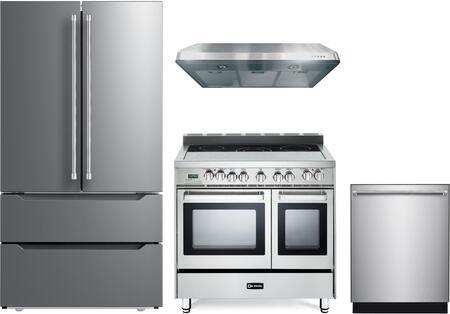 4 Piece Kitchen Appliances Package with VERF36CDSS 36″ French Door Refrigerator  VEFSEE365DSS 36″ Electric Range  VEHOOD3610 36″ Under Cabinet Range