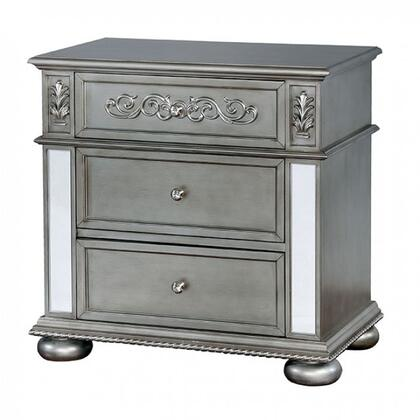 Furniture of America Azha CM7194N Nightstand Silver, CM7194N