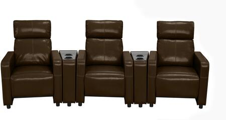 Arcadia Collection 3-PC Push Back Recliner Home Theater Set with Vinyl and Faux Leather Upholstery  Cup Holder  Track Arms and Split Back Cushion in