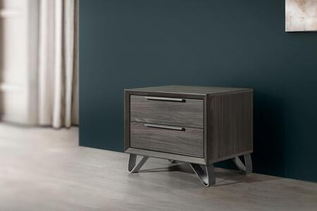 Amalfi Collection AMALF-NS-MGR-43 24″ Nightstand with 2 Soft Closing Drawers and Metal Hand Pulls in Matt Gray