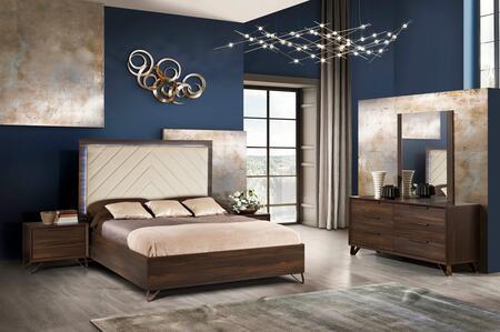 Venice Collection VENICE-QNBDM2N-OEM-53 5-Piece Bedroom Set with Queen Bed  Dresser  Mirror and 2x Nightstands in Oak Elm Matt