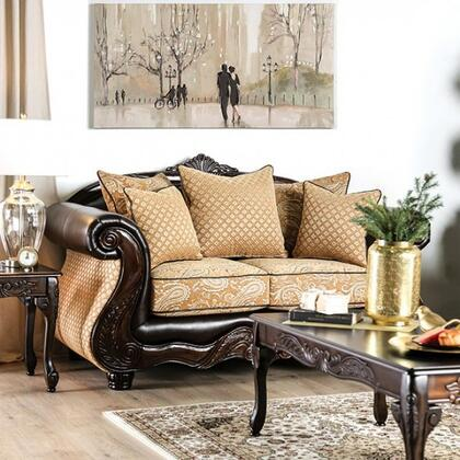 Furniture of America Aislynn SM6423LV Loveseat Gold, SM6423-LV side