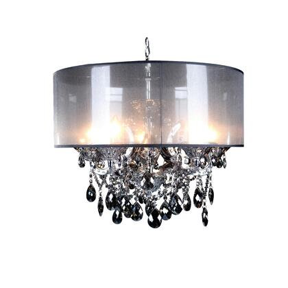 10423-SMK-S 5-Light Chandelier with Metal and Crystal Materials and 40 Watts in Smoke