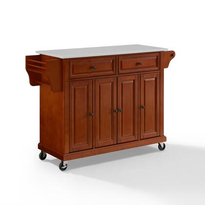 Full Size Kitchen Collection KF30005ECH Full Size Granite Top Kitchen Cart in Cherry