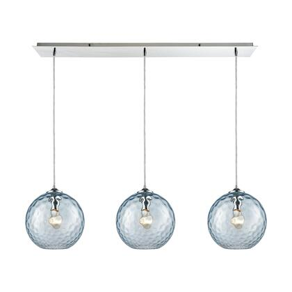31380/3LP-AQ Watersphere 3 Light Linear Pan Fixture in Polished Chrome with Aqua Hammered