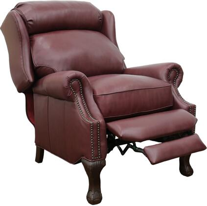 Danbury Collection 34″ 74199570076 Recliner with Brass Nail Head Treatment and Rolled Arms  All Leather in Shoreham
