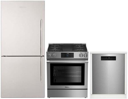 "3-Piece Kitchen Appliances Package with BRFB1812SSLN 30"" Bottom Freezer Refrigerator BGR30420SS 30"" Slide-in Gas Range and DWT52600SSIH 24"" Built In"