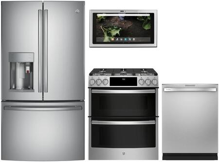4 Piece Kitchen Appliances Package with PYE22PSKSS 36″ French Door Refrigerator  PGS960SELSS 30″ Slide-in Gas Range  UVH13012MSS 30″ Under Cabinet