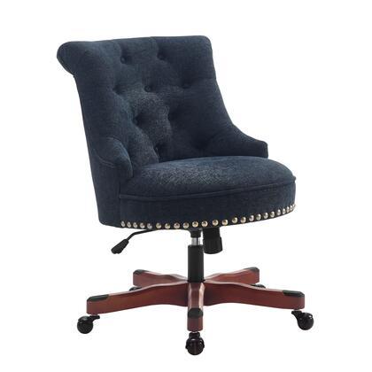 Linon Sinclair 178403DKBLU01U Office Chair, 178403DKBLU01U Sinclair Office Chair Dark Blue   Dark Walnut Wood Base