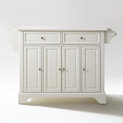 Lafayette Collection KF30005BWH Granite Top Island/Cart in White