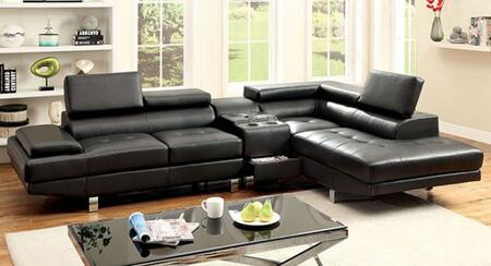 Furniture of America Kemina CM6833BKSETCS Living Room Set Black, Main Image