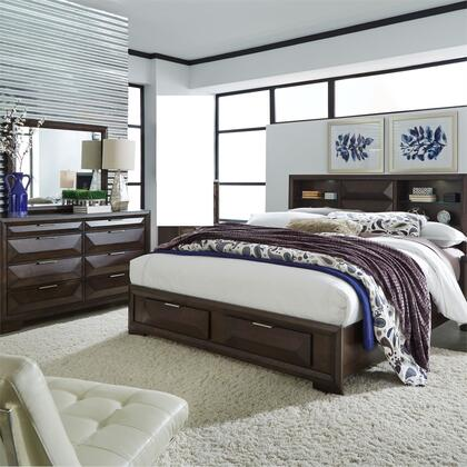 Liberty Furniture 148-BR-QSBDM 3 Piece Bedroom Set with Queen Size Storage Bed  Dresser and Mirror  in Cappuccino