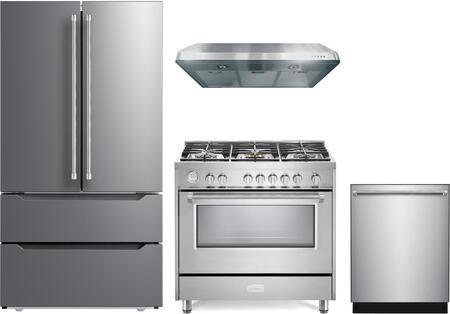 4 Piece Kitchen Appliances Package with VERF36CDSS 36″ French Door Refrigerator  VDFSGG365SS 36″ Gas Range  VEHOOD3610 36″ Under Cabinet Range Hood
