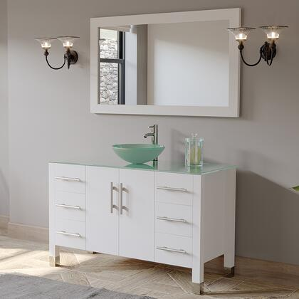 8116B-W 48″ Solid Wood Glass Vessel Sink Set with a Polished