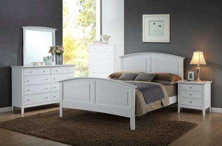 Whistler Collection WH801QNMDR 4-Piece Bedroom Set with Queen Bed  Nightstand  Mirror and Dresser in White