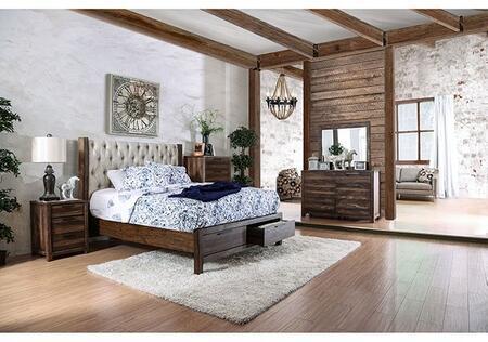 Furniture of America Hutchinson CM7577CKSBDMCN Bedroom Set Brown, Main Image