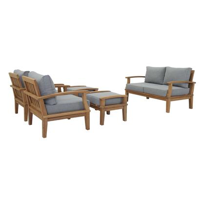 Marina Collection EEI-1472-NAT-GRY-SET 5 PC Outdoor Patio Teak Set in Natural Grey