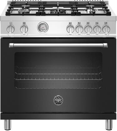 Bertazzoni Master MAST365GASNEE Freestanding Gas Range Black, MAST365DFMNEE  36 inch Dual Fuel Range