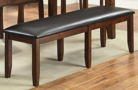 Arianna Collection Bench with Faux Leather Upholstery  Rectangular Shape  Apron  Tropical Hardwood and Wood Veneer Construction in Brown