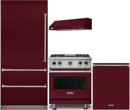 Viking 5 Piece Kitchen Appliance Package With 36 Inch Bottom Freezer Refrigerator 30 Inch Gas Range 24 Inch Built In Dishwasher 30 Inch Wall Mount Hood 24 Inch Built In Dishwasher With