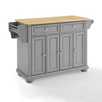 Alexandria Collection KF30201AGY Wood Top Kitchen Island/Cart in Gray