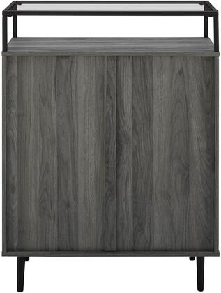 BR3DMILDRSG Modern Glass Top 3-Drawer Accent Console – Slate