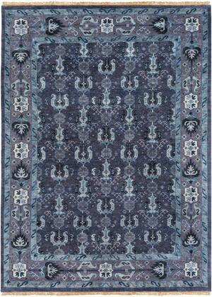 Zeus ZEU-7830 9′ x 13′ Rectangle Traditional Rugs in Navy  Dark Purple  Aqua  Pale